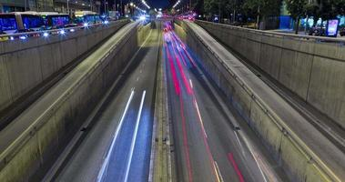 Night scene of urban traffic.Time Lapse - Trail effect - Long exposure - 4K.(08)
