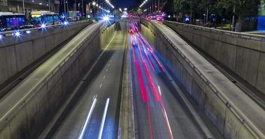 Night scene of urban traffic.Time Lapse - Trail effect - Long exposure - 4K. (09)