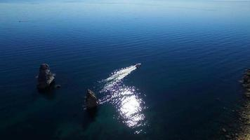 Small Boat Sailing In Black Sea Waters video