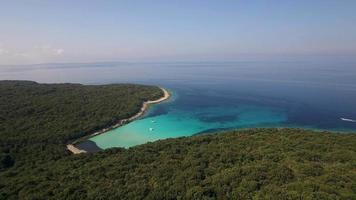 Antena: vista panorámica de la isla cubierta de vegetación con bahía turquesa video