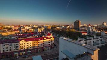 Weißrussland Sonnenuntergang Zeit Nemiga Stadtzentrum Dach Panorama 4k Zeitraffer