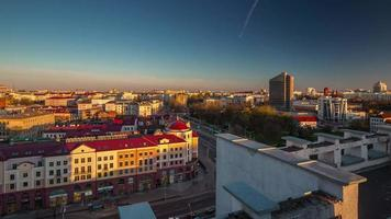 belarus, pôr do sol, nemiga, cidade, centro, topo, panorama, 4k, time lapse video