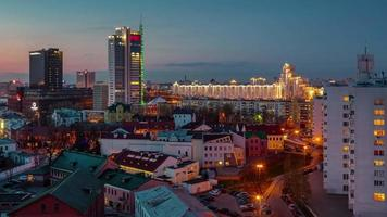 belarus sunset minsk city center famoso panorama do telhado 4k time lapse
