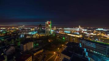 belarus sunset night city center top panorama 4k time lapse