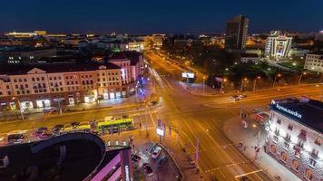 belarus minsk city sunset day roof top center panorama 4k time lapse
