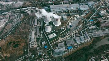 Aerial of Power Station with Cooling Towers video