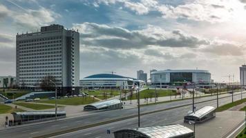 bielorrússia sun light minsk arena panorama 4k time lapse video
