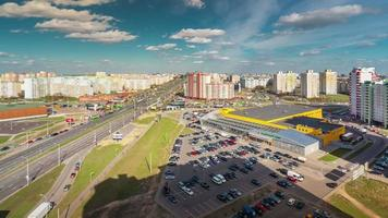 belarus sunny day minsk city roof top mall panorama 4k time lapse