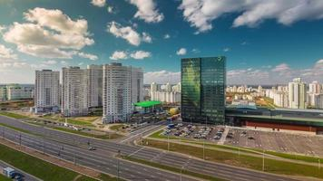 Bielorrússia Sunny Day Minsk City Traffic Street Roof Top Panorama 4k Time Lapse