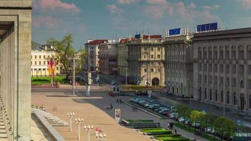 belarus minsk sunny day republic palace square view 4k time lapse