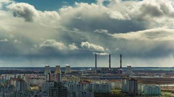 belarus sun light rainy clouds minsk industrial roof top panorama 4k time lapse
