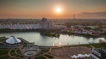 belarus sunset minsk city roof top panorama nemiga river 4k time lapse