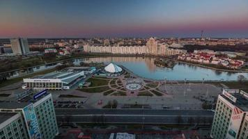 belarus minsk sunset city roof top panorama baía do rio 4k time lapse