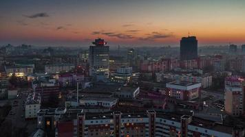 belarus sunset minsk city roof top panorama 4k time lapse