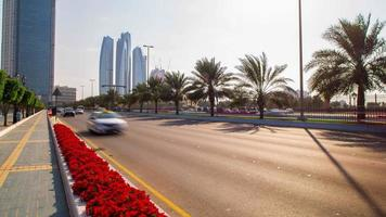 sunny traffic road time lapse from abu dhabi