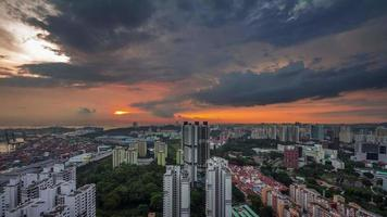 Cingapura Sunset Sky City Panorama 4k Time Lapse video