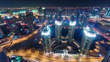 night illumination dubai marina traffic streets roof panorama 4k time lapse united arab emirates