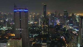 thailand bangkok city center night light hotel roof top panorama 4k