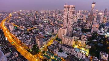 thailand sunset till night illumination bangkok city roof top panorama 4k time lapse