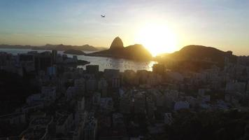 Drone aerial view from a mountain on Brazilian with s sunset in Rio de Janeiro Brasil