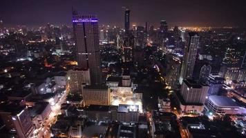 thailand bangkok city center roof top night light panorama 4k time lapse
