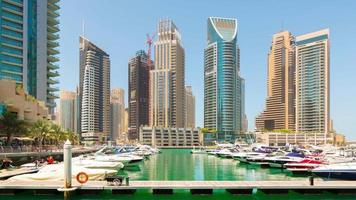 Uae dubai marina summer day city private yacht dock 4k time lapse
