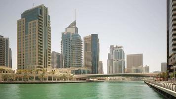 Uae summer day dubai marina gulf traffic panorama 4k time lapse