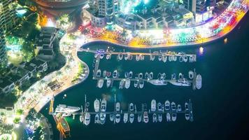 night light high yacht place time lapse from dubai video