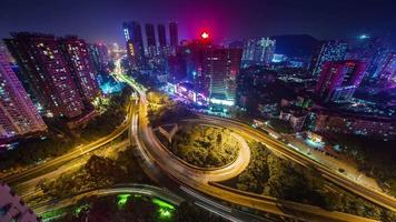 china shenzhen night light high traffic crossroad roof top 4k time lapse