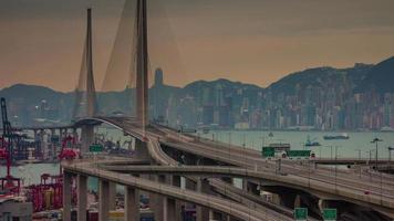 sunset panoramic bridge 4k time lapse from beautiful hong kong city