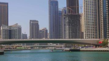 uae day light summer time dubai marina gulf bridge 4k