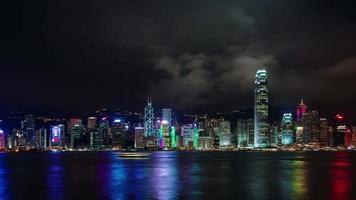 panorama noturno luz da cidade 4k time lapse de hong kong china