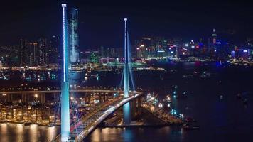Vida de tráfico de luz nocturna 4k lapso de tiempo de la ciudad de Hong Kong