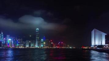 famosi edifici notte luce 4k lasso di tempo da hong kong cina
