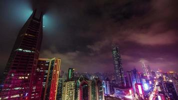 china night light shenzhen city sky panorama 4k time lapse