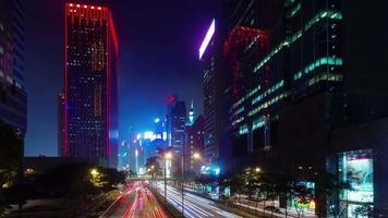 night colored traffic street 4k time lapse from hong kong city