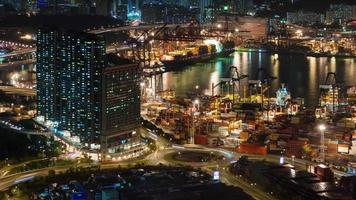night light traffic port place 4k time lapse from hong kong city