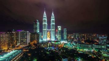 kuala lumpur famous night light block 4k time lapse malaysia