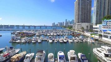 Video aéreo de barcos de Miami en un puerto deportivo.