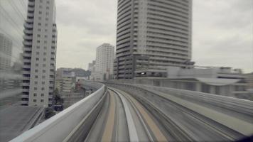 Train commuter running through the city video
