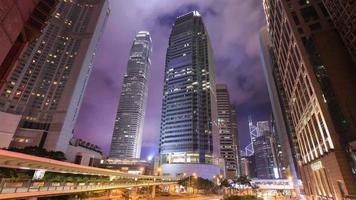 4k Time-lapse of Hong Kong city and traffic at night video