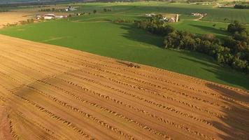 Maquinaria agrícola cosechar heno en la luz del atardecer