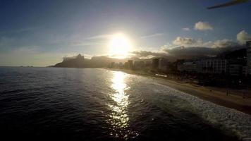 Aerial view of Ipanema beach at the sunset, Rio de Janeiro, Brazil video