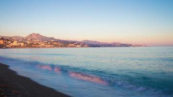 Spanien Malaga Stadt Sonnenuntergang Strand Bucht Panorama 4k Zeitraffer