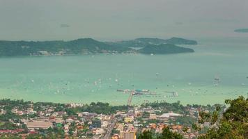 thailand phuket town port side high mountain panorama 4k time lapse video