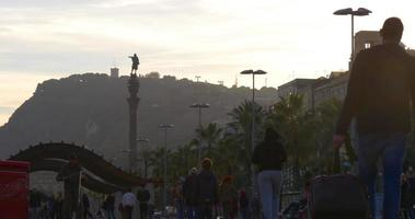 sunset barcelona walking bay columb monument view 4k spain