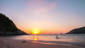 thailand sunset phuket famous nai harn beach panorama 4k time lapse video