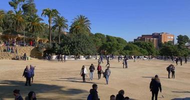 Barcelona Sunny Day Guell Park berühmten Balkon 4k Spanien
