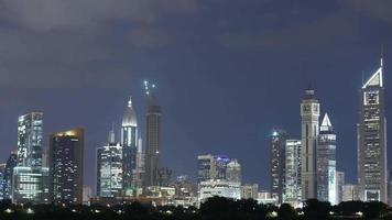 Nachtlicht Panorama Zeitraffer von Dubai
