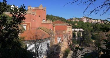 Gaudi Barcelona Park Güell Gebäude 4k Spanien
